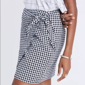 Madewell Womens Black White Gingham Print Side Tie Mini Skirt Size 4 Fitted